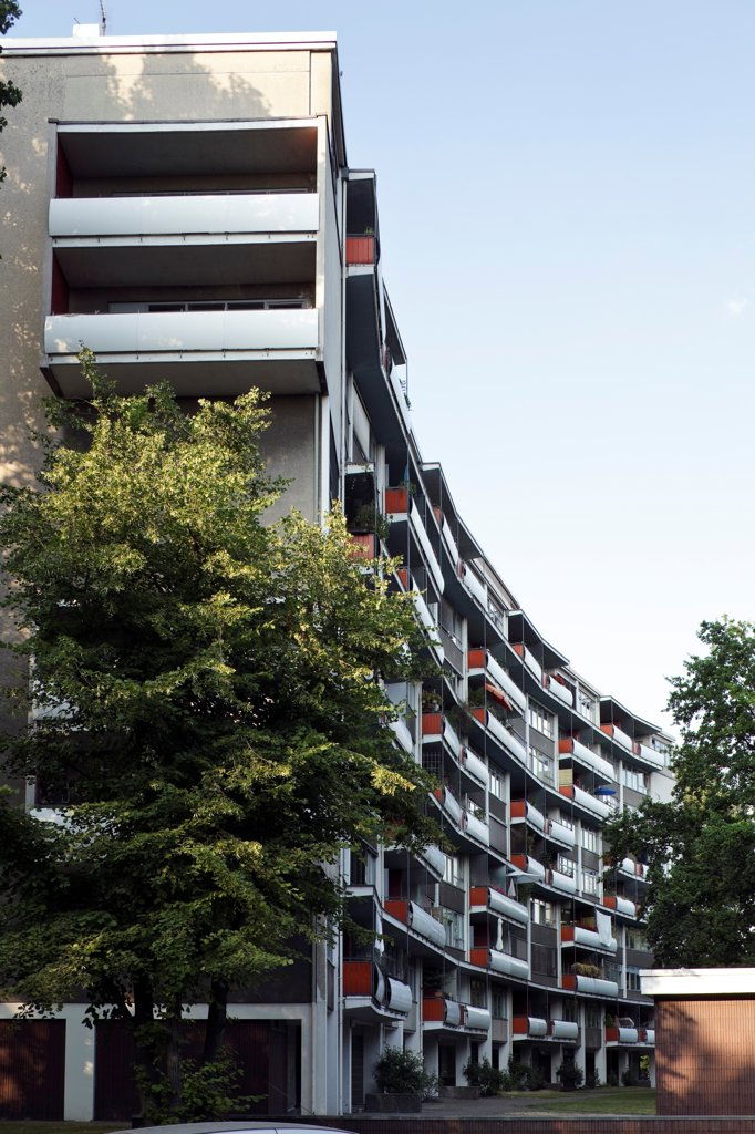 Stock Photo: 1801-75281 Interbau Berlin, Berlin, Germany. Architect: Various Architects, 1957. Walter Gropius Apartment building end view.