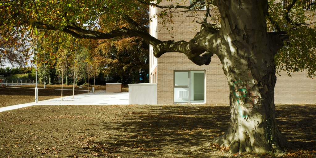 Stock Photo: 1801-75404 Santry Demesne, Fingal, Ireland. Architect: DTA Architects, 2009. View of brick housing block showing tree and surrounding landscaped space.