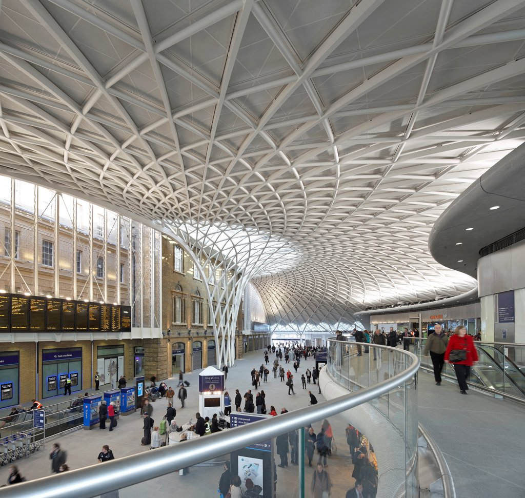 Stock Photo: 1801-75470 King's Cross Station, Railway Station, Europe, United Kingdom, , 2012, John McAslan & Partners. Wide view of Western Concourse from mezzanine level.