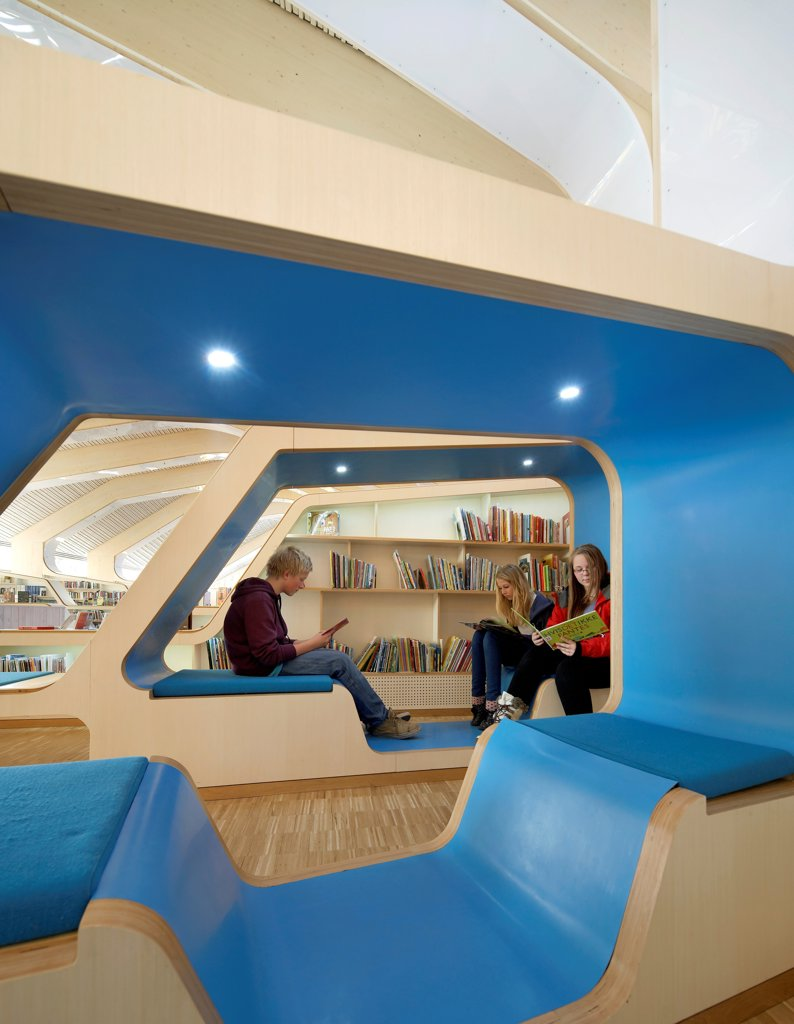 Vennesla Library, Library, Europe, Norway, , 2012, Helen & Hard. Interior view of people using study pods. : Stock Photo