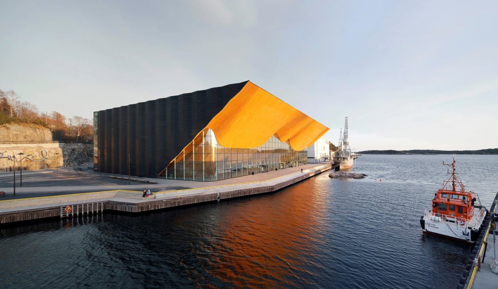 Kilden Performing Arts Centre, Concert Hall, Europe, Norway, , 2011, ALA Architects. Oblique exterior view across water in late afternoon. : Stock Photo