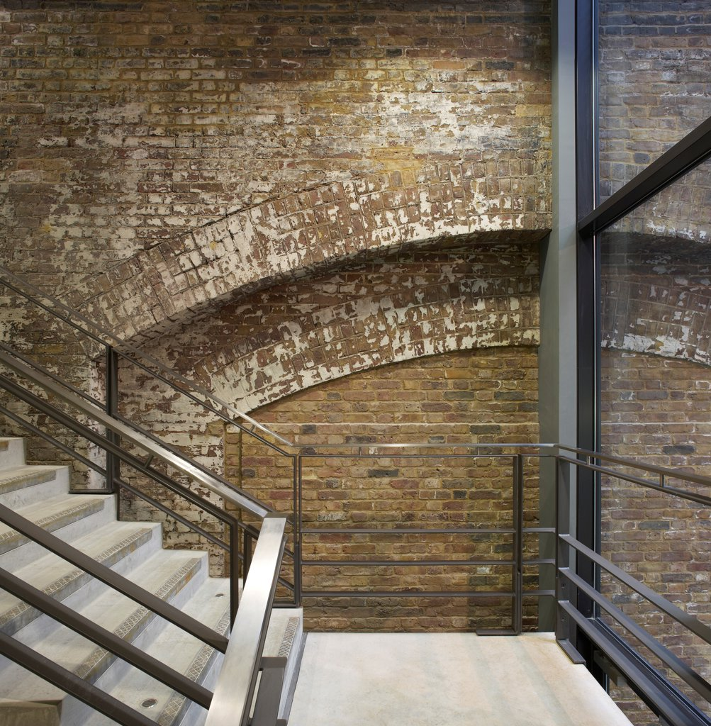 Central Saint Martins, London, United Kingdom. Architect: Stanton Williams, 2011. Staircase. : Stock Photo