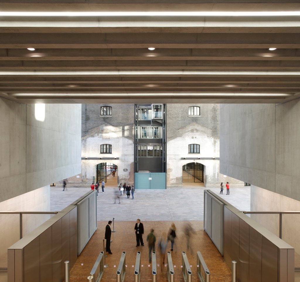 Stock Photo: 1801-75770 Central Saint Martins, London, United Kingdom. Architect: Stanton Williams, 2011. Entrance area.