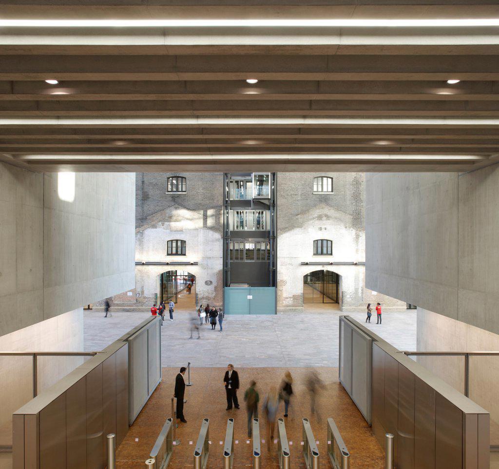 Central Saint Martins, London, United Kingdom. Architect: Stanton Williams, 2011. Entrance area. : Stock Photo