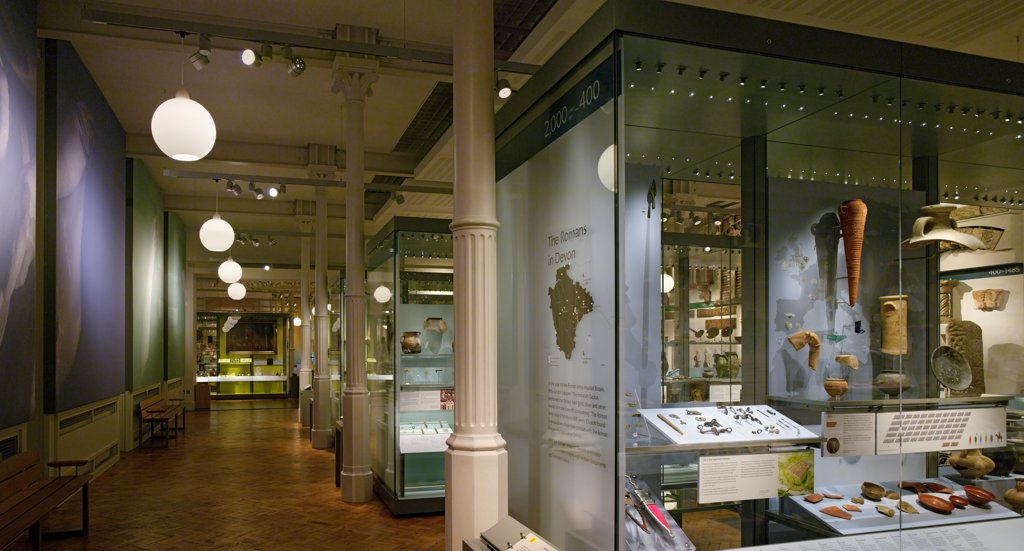 Stock Photo: 1801-76662 RAMM, The Royal Albert Memorial Museum, Museum, Europe, United Kingdom, Devon, 2012, Allies and Morrison. View of permanent collection with Victorian steel pillars.