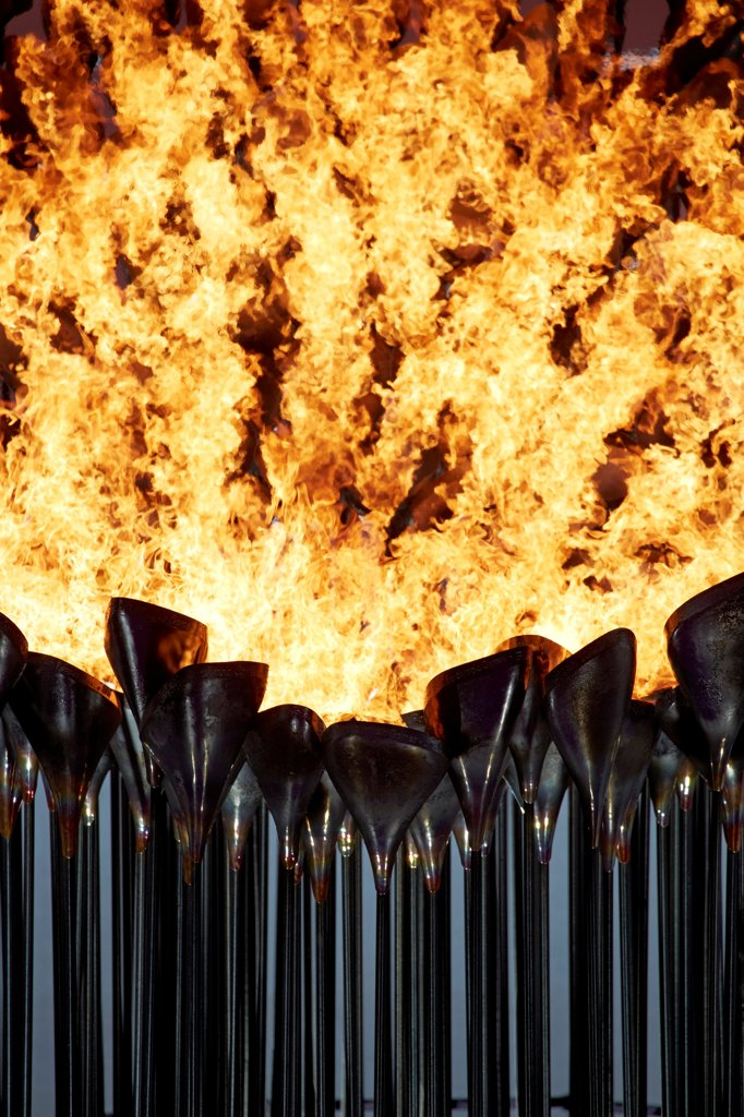 Stock Photo: 1801-76807 Olympic Cauldron, Art Installation, Europe, United Kingdom, , 2012, Heatherwick Studio. Abstract view of cauldron at night.