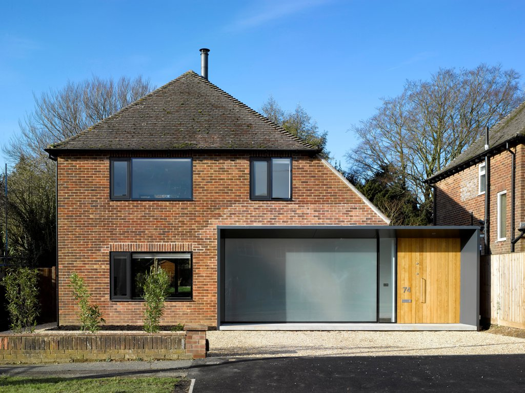 Stock Photo: 1801-76897 The Long House, Home Extension, Europe, United Kingdom, Hampshire, 2012, Dan Brill Architects. Overall exterior view.