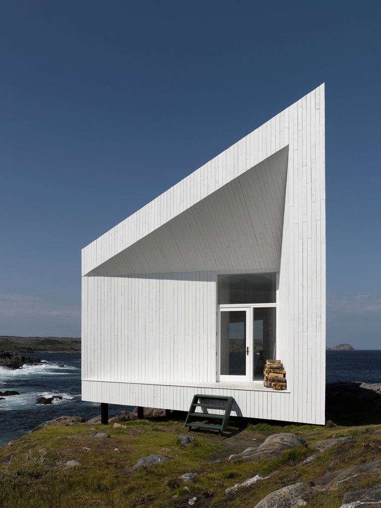 Stock Photo: 1801-77312 Squish Studio, Fogo Island, Canada. Architect: Todd Saunders, 2011. Front view of studio daytime.