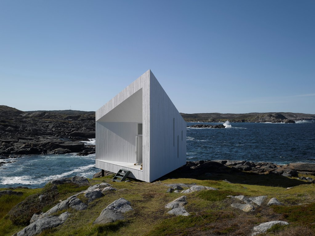 Stock Photo: 1801-77315 Squish Studio, Fogo Island, Canada. Architect: Todd Saunders, 2011. Oblique view.