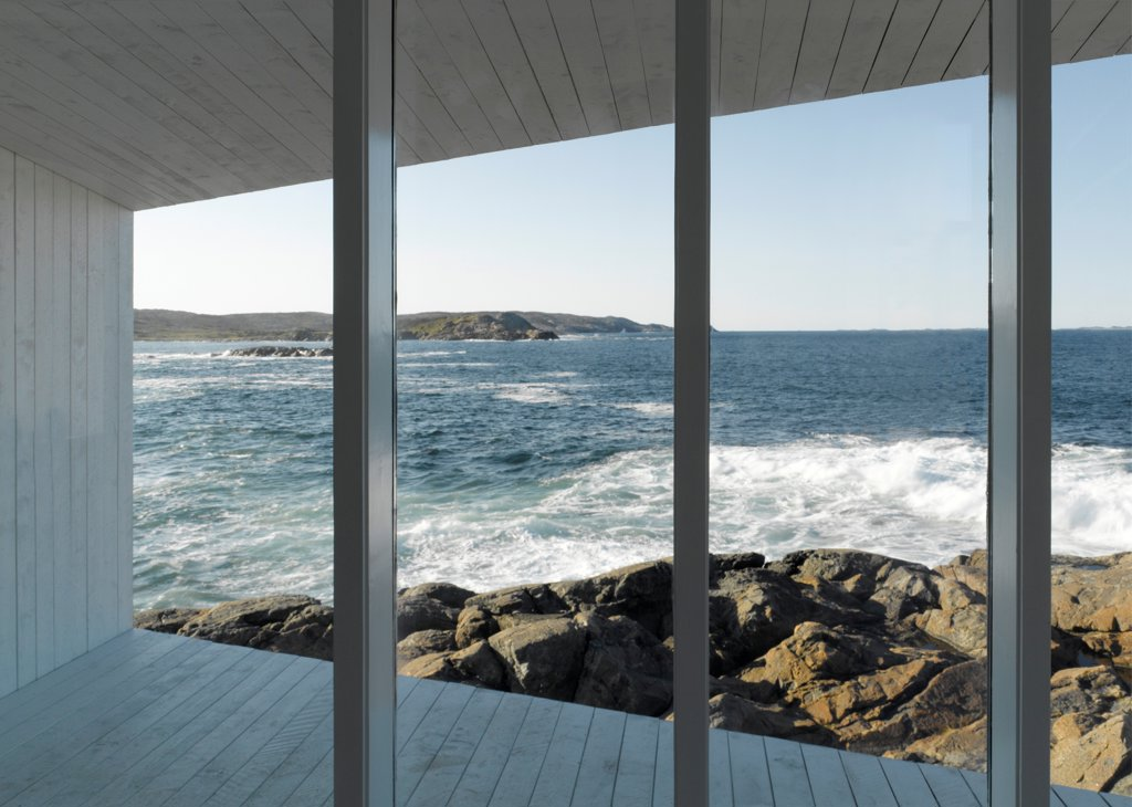 Stock Photo: 1801-77317 Squish Studio, Fogo Island, Canada. Architect: Todd Saunders, 2011. View onto ocean from inside.
