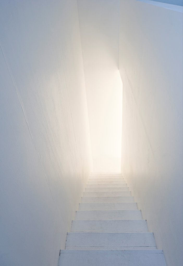 Stock Photo: 1801-77334 Tower Studio, Fogo Island, Canada. Architect: Todd Saunders, 2011. View of staircase.