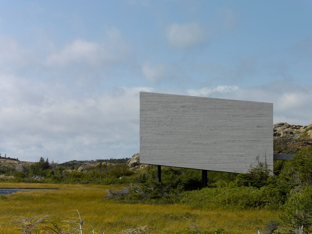 Bridge Studio, Fogo Island, Canada. Architect: Todd Saunders, 2011. Side elevation view. : Stock Photo
