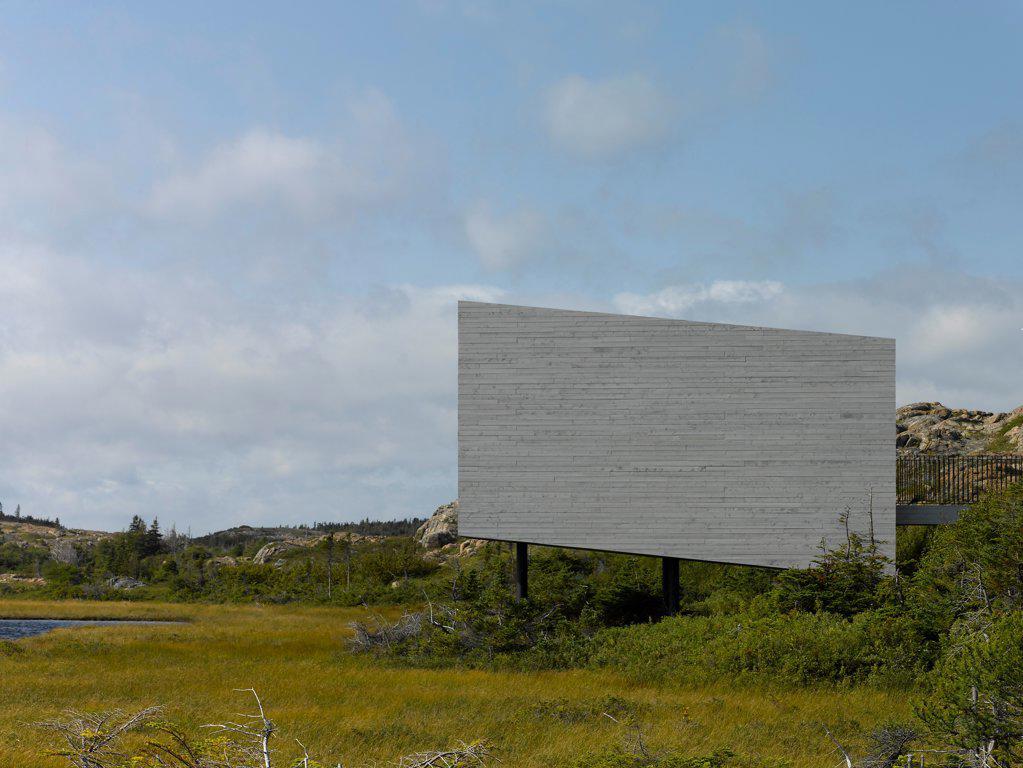 Stock Photo: 1801-77338 Bridge Studio, Fogo Island, Canada. Architect: Todd Saunders, 2011. Side elevation view.