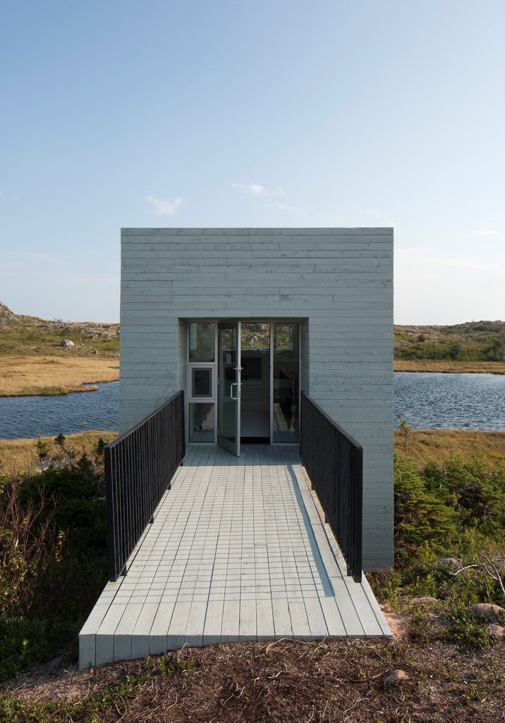 Stock Photo: 1801-77340 Bridge Studio, Fogo Island, Canada. Architect: Todd Saunders, 2011. Front Door.