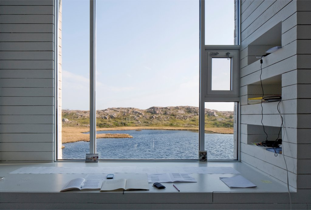 Stock Photo: 1801-77342 Bridge Studio, Fogo Island, Canada. Architect: Todd Saunders, 2011. Studio interior view over lake.