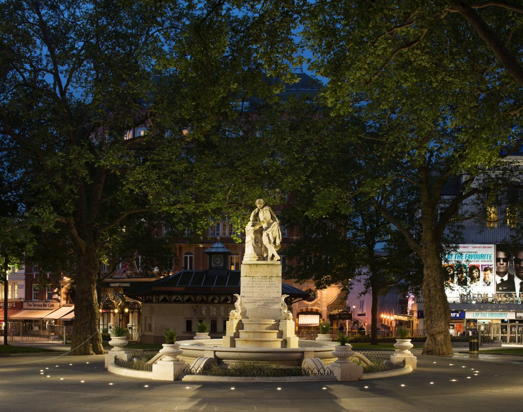 Stock Photo: 1801-77368 Leicester Square, Square Plaza, Europe, United Kingdom, , 2012, Burns + Nice. Park in centre of Square by night.