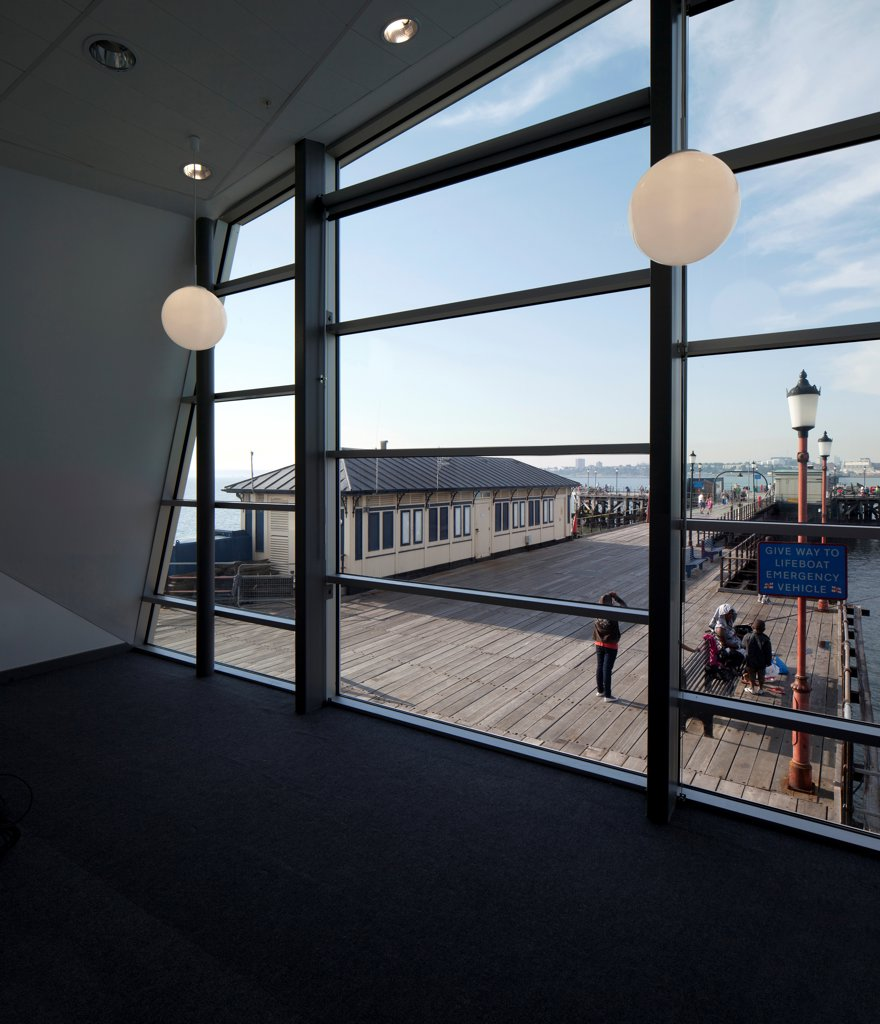 Stock Photo: 1801-77423 Southend Pier Cultural Centre, Southend, United Kingdom. Architect: White Architects, 2012. Interior of artists space.