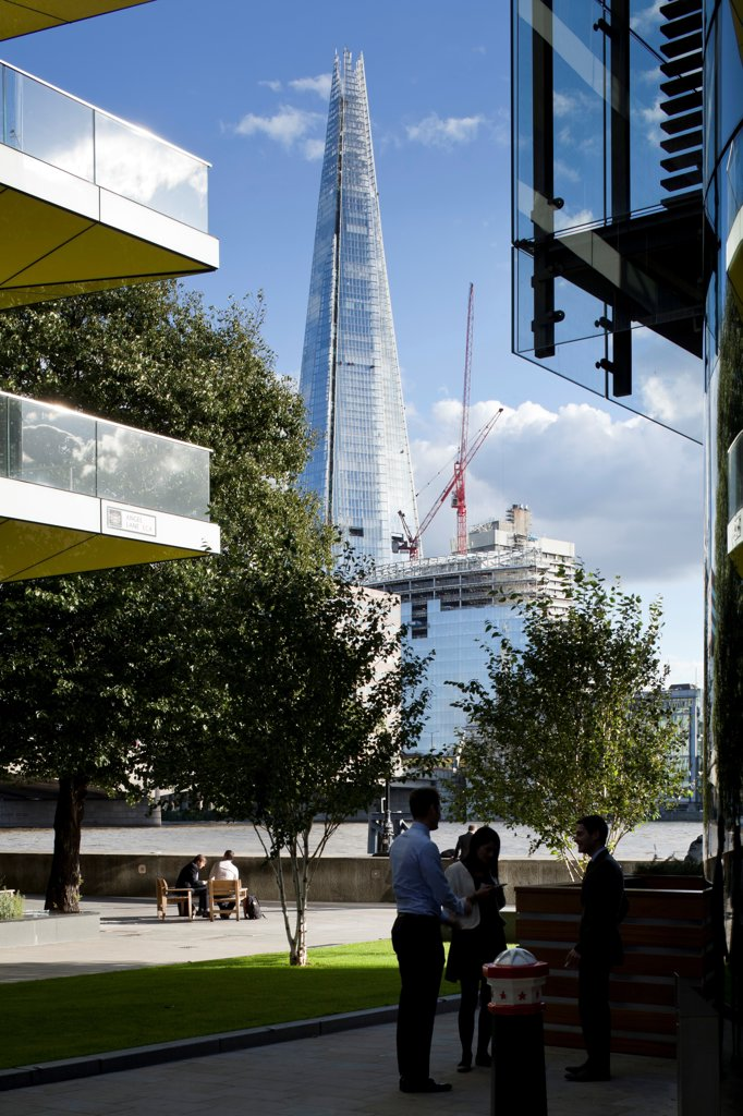 The Shard, London, United Kingdom. Architect: RENZO PIANO , 2012. View from offices on north bank of thames. : Stock Photo