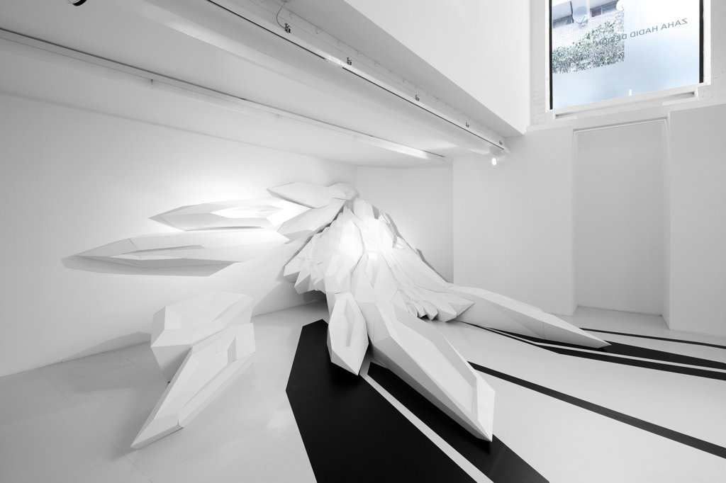 Stock Photo: 1801-77540 Zaha Hadid Design Gallery with Fudge Hair Pop-Up Salon, Art Installation, Europe, United Kingdom, , 2012, Zaha Hadid Architects. Basement level featuring Capsarc Relief and viewing window from street level.