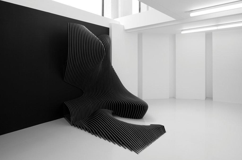 Zaha Hadid Design Gallery with Fudge Hair Pop-Up Salon, Art Installation, Europe, United Kingdom, , 2012, Zaha Hadid Architects. Basement level featuring Cirrus. : Stock Photo