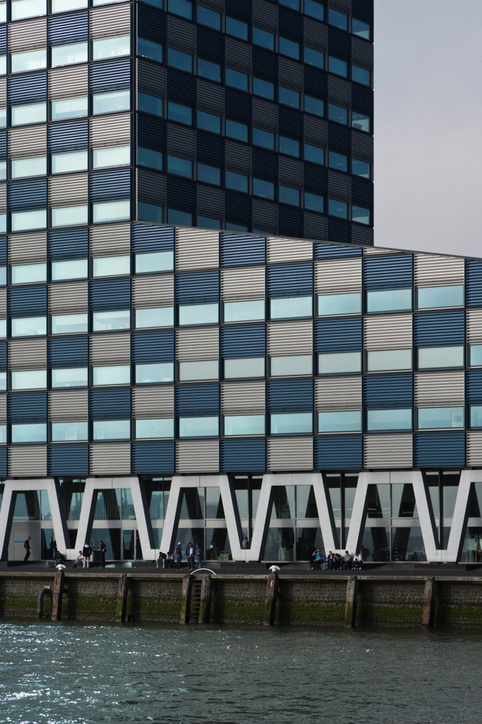 Stock Photo: 1801-78275 Scheepvaart en Transport College, Rotterdam, Netherlands. Architect: Neutelings Riedijk, 2005. Detail of facade with River Maas.