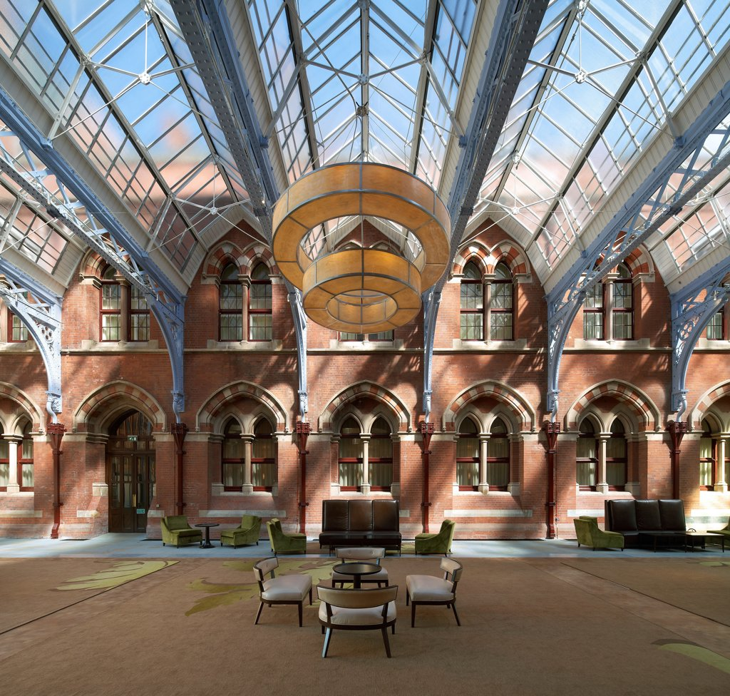 Stock Photo: 1801-78571 St Pancras Hotel, London, United Kingdom. Architect: Sir Giles Gilbert Scott With Richard Griffiths Arc, 2011. Wide View Lobby With Glazed Roof.
