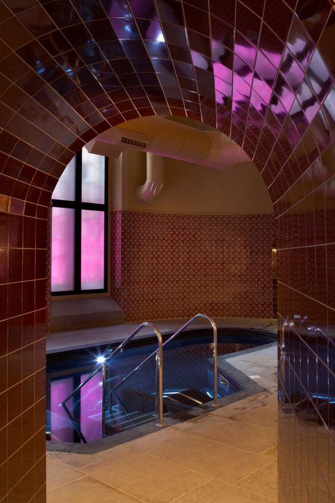 St Pancras Hotel, London, United Kingdom. Architect: Sir Giles Gilbert Scott With Richard Griffiths Arc, 2011. Detail Of Subterranean Tiled Baths. : Stock Photo