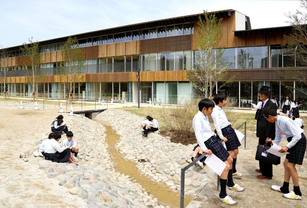 Teikyo University Elementary School, Tokyo, Japan. Architect: Kengo Kuma, 2012. Overall Exterior View During Biology Field Work. : Stock Photo