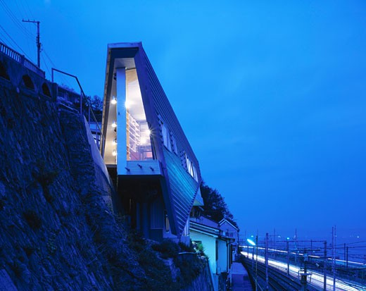 Stock Photo: 1801-9261 ROOFTECTURE S HOUSE, KOBE, JAPAN, DUSK VIEW, ENDO SHUHEI ARCHITECTS INSTITUTE