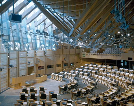 Stock Photo: 1801-9500 SCOTTISH PARLIAMENT, THE ROYAL MILE, EDINBURGH, UNITED KINGDOM, DEBATING CHAMBER, EMBT ARQUITECTES ASSOCIATS SL -ENRIC MIRALLES BENEDETTA TAGLIABUE + RMJM