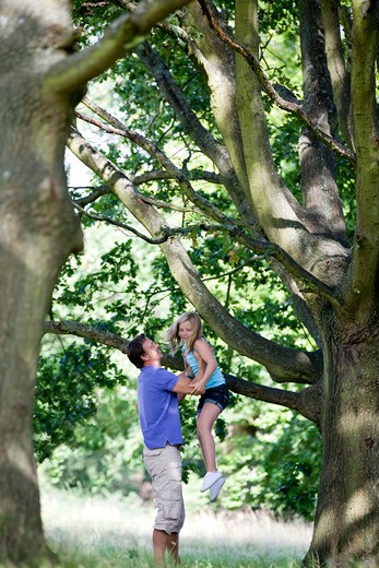 A father helping his daughter down from a tree : Stock Photo