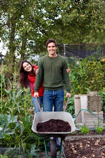 A young couple pushing a wheelbarrow on an allotment : Stock Photo