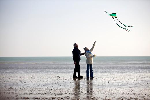 A senior couple flying a kite on the beach : Stock Photo