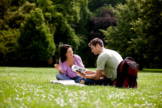 A young couple sitting on the grass, looking at a map and a guidebook : Stock Photo