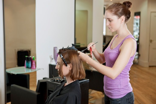 Stock Photo: 1804R-21148 A female hairdresser colouring a female clients hair