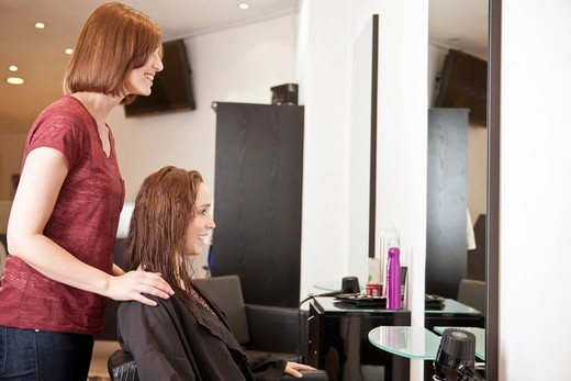A female hairdresser discussing a female clients hair : Stock Photo