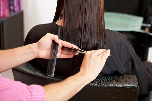 Stock Photo: 1804R-21182 A male hairdresser cutting his female clients long hair, close up