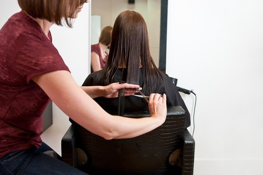 A female hairdresser cutting her female clients long hair : Stock Photo