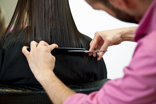Stock Photo: 1804R-21184 A male hairdresser cutting his female clients long hair, close up