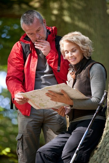 A mature couple standing in woodland looking at a map, close up : Stock Photo