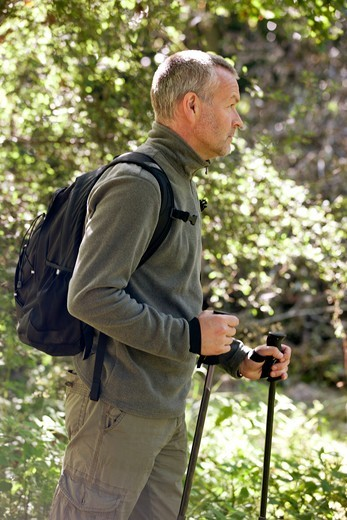 A mature man walking outdoors, holding walking poles and carrying a rucksack : Stock Photo