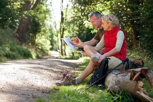 Stock Photo: 1804R-21269 A mature couple resting beside a country path, looking at a map