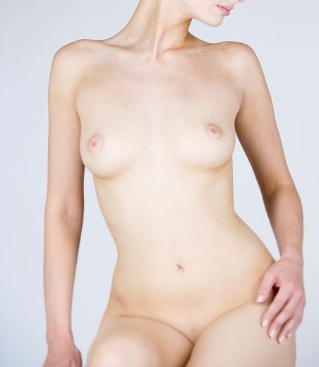 A female nude, front view : Stock Photo
