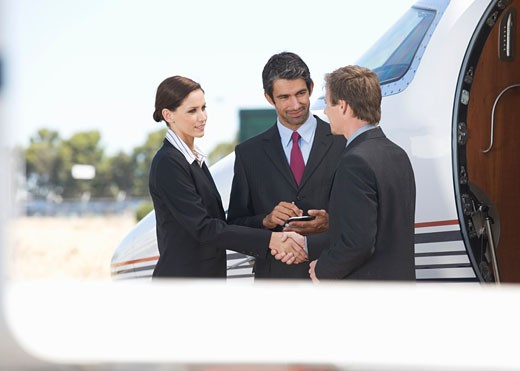 Three business colleagues standing by a plane : Stock Photo