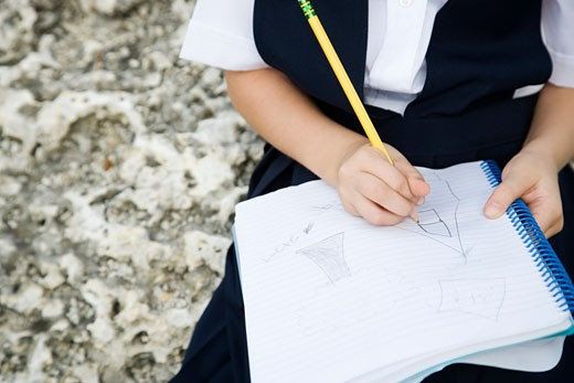 A schoolgirl writing in a notebook : Stock Photo