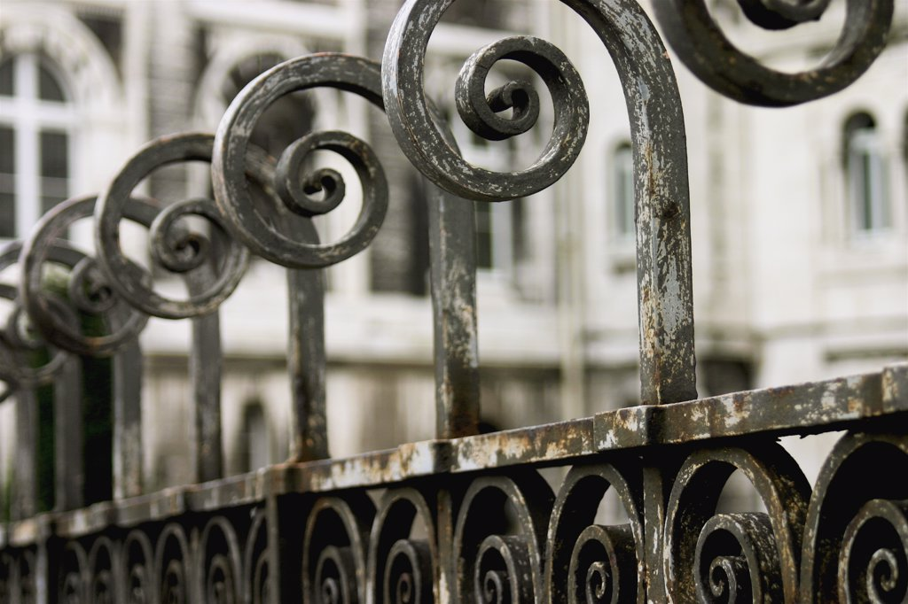 Ironwork fence detail : Stock Photo