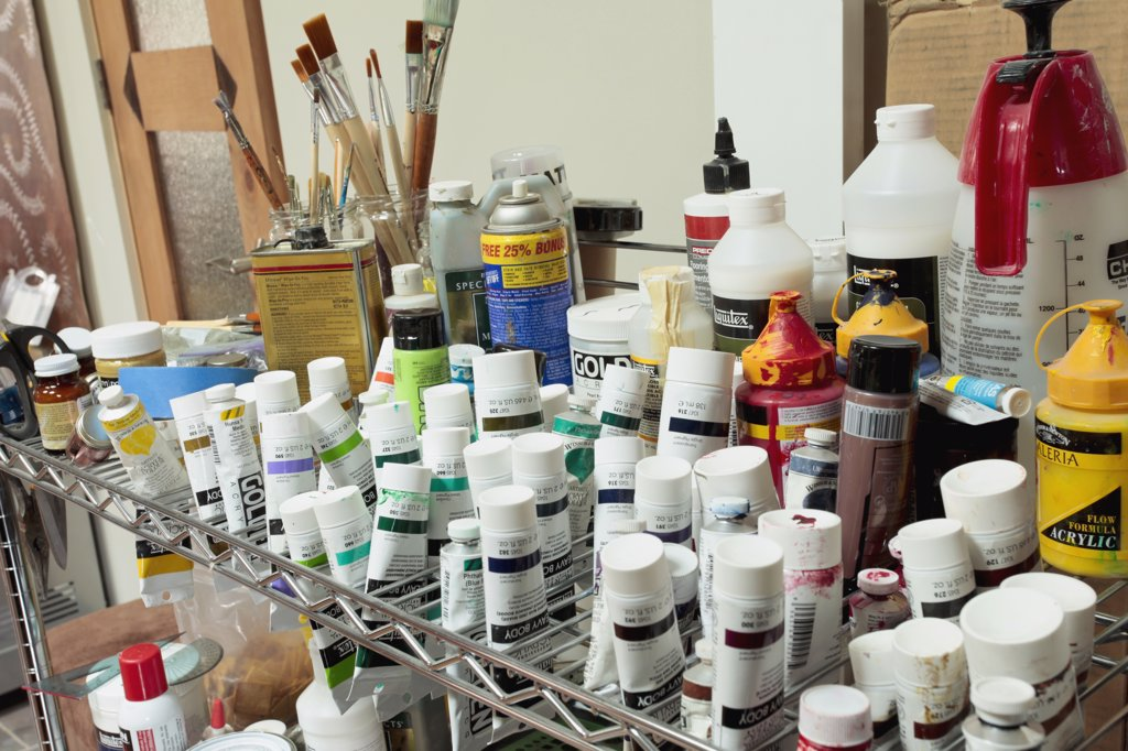 Stock Photo: 1806R-10115 Collection of artists paints