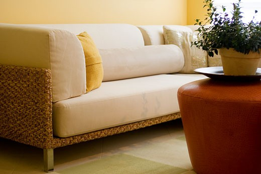 Stock Photo: 1806R-1764 Detail of Contemporary Sofa in Living Room