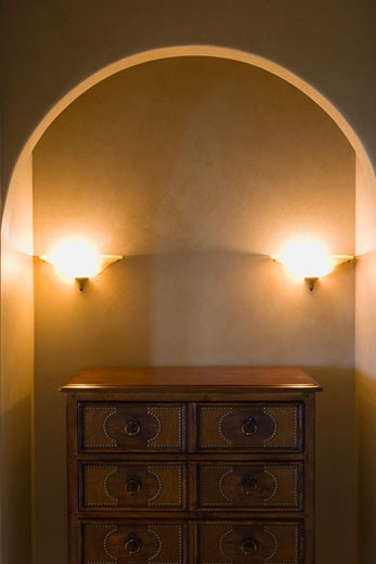 Stock Photo: 1806R-2030 Wood Dresser and Lights