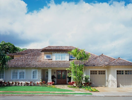 Front Exterior of Contemporary Coastal Home : Stock Photo